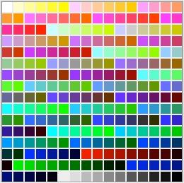 Tabella colore a 8 bit = 256 colori